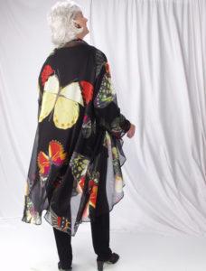 Plus Size Dressy Drape Coat Silk Georgette Butterflies Red Yellow Black 14 - 28