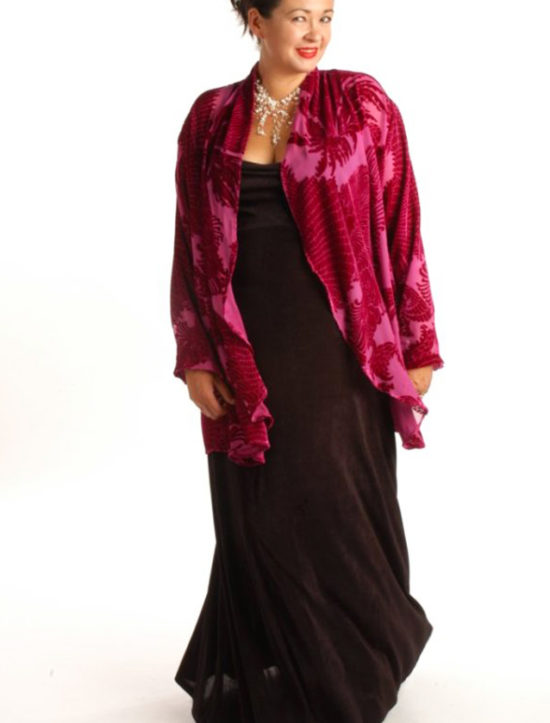 Plus Size Drape Jacket Fuschia Plumes Silk Velvet Burnout 14-36