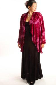 Plus Size Drape Jacket Fuschia Plumes Silk Velvet Burnout 14-36