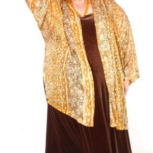 Plus Size Dressy Kimono Jacket Goldfish Silk Print Gold Silver Ivory 14 – 32