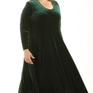 Plus Size Long Curved Dress Forest Green Lycra Velvet 14 – 36