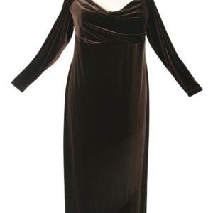 Plus Size Empire Evening Gown Long Sleeves Brown Lycra Velvet 14 – 24