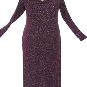 Plus Size Empire Evening Gown Long Sleeves Burgundy Sparkle Slinky 14 – 24