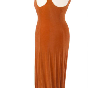 Plus Size Empire Evening Gown Sleeveless Copper Slinky 14 – 24