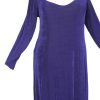 Plus Size Juliet Dress Evening Long Sleeves Purple Slinky 14 - 36
