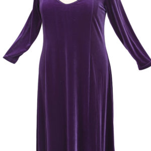Plus Size Juliet Evening Dress Long Sleeves Purple Lycra Velvet 14 – 36
