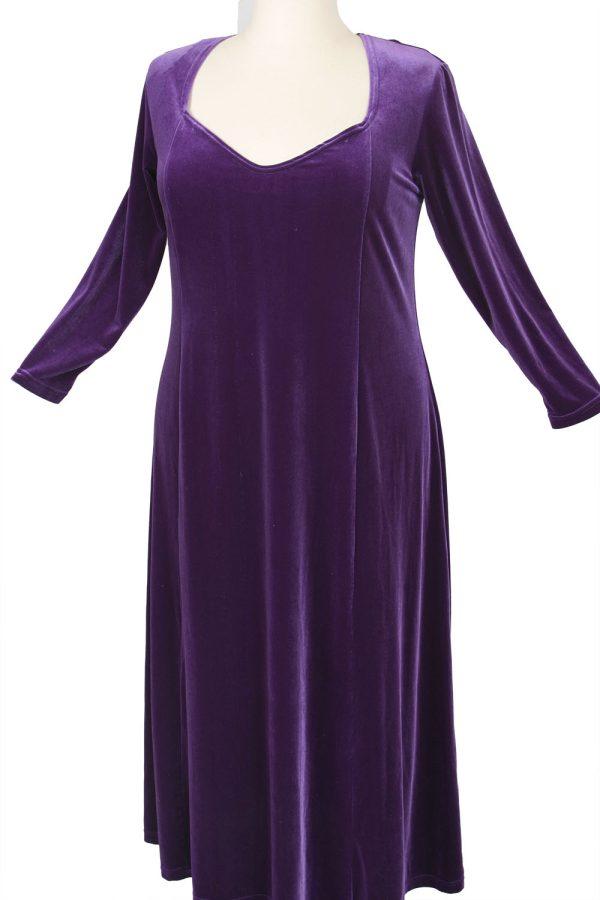 Plus Size Juliet Evening Dress Long Sleeves Purple Lycra Velvet 14 - 36