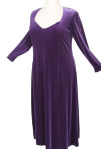Plus Size Juliet Evening Dress Long Sleeves Purple Lycra Velvet 14 - 36