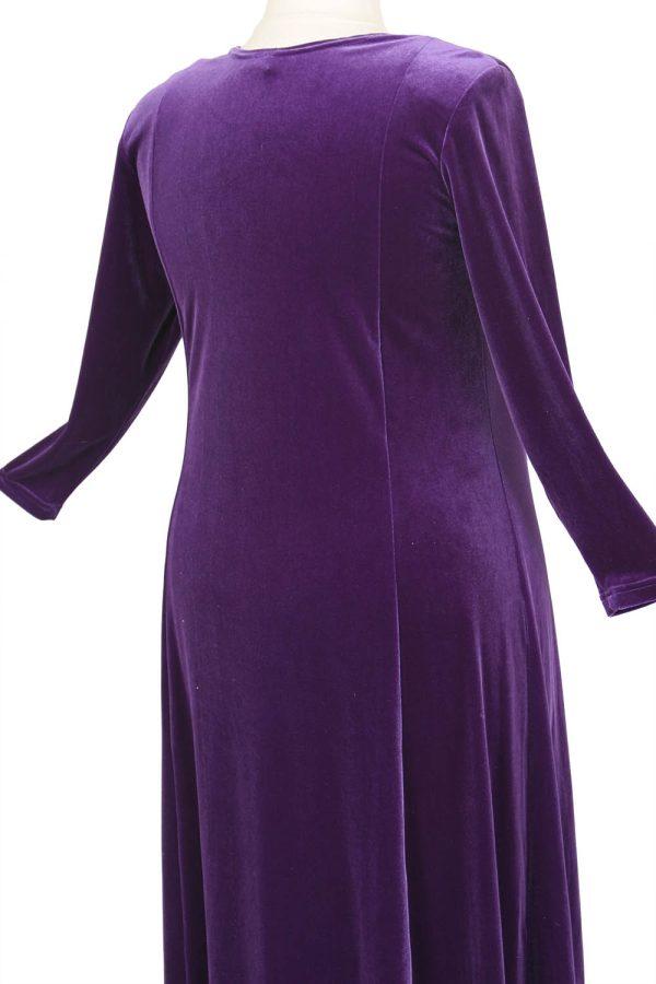 Plus Size Juliet Evening Dress Long Sleeves Purple Lycra Velvet 14 – 36