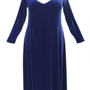 Plus Size Juliet Evening Dress Long Sleeves Royal Blue Lycra Velvet 14 – 36