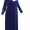 Plus Size Juliet Evening Dress Long Sleeves Royal Blue Lycra Velvet 14 - 36