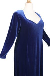 Plus Size Juliet Evening Dress Long Sleeves Royal Blue Lycra Velvet 14 - 36