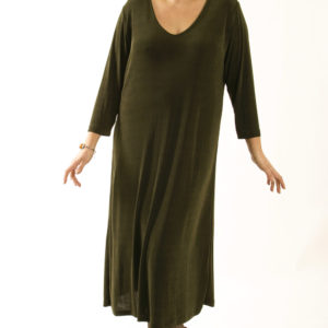 Tee Dress Calf Length Olive Slinky Plus Size 14 – 36