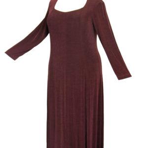 Plus Size Juliet Dress Evening Long Sleeves Brown Slinky 14 – 36