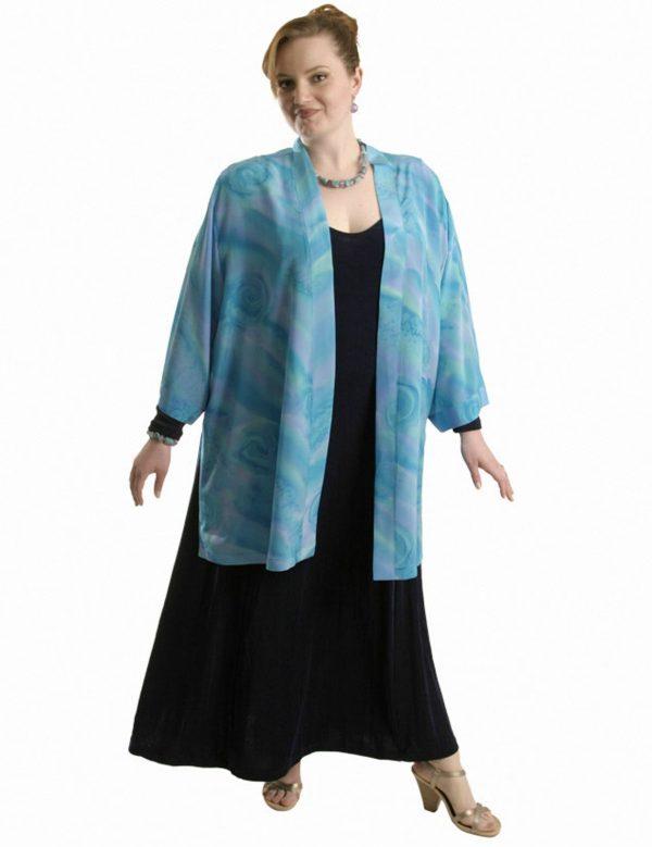 Plus Size Mother of Bride Kimono Jacket Aqua Turquoise Lavender Silk 22 – 28